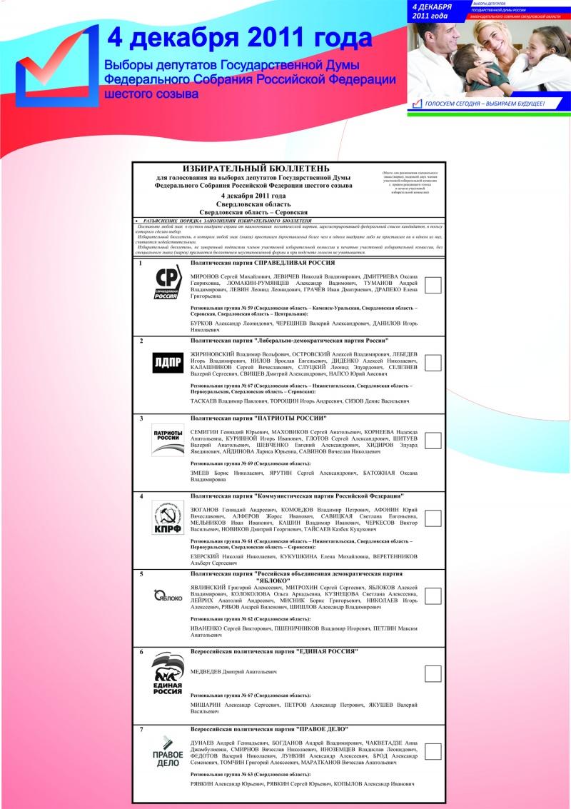 5 выборы депутатов государственной думы шестого созыва 4 декабря 2011 года